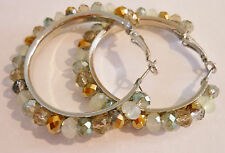 """Multi-faceted bling bead wire wrapped on silver 1.75"""" hoops Handcrafted Handmade"""
