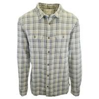 Quiksilver Men's Green Yellow White Plaid L/S Flannel Shirt (S21)