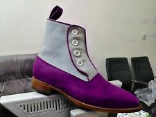 Handmade Leather Suede Cap Toe Boot Men's Button Top Ankle Boot New Dress Formal