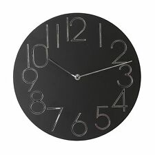 Wall Clock Black Dial with Mirror Numerals 30cms
