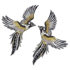 2 Lot Phoenix Birds Patch Gray Wings Tattoo Embroidered Iron on Applique DIY
