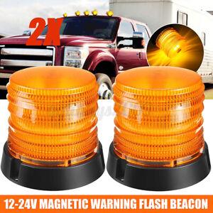 2x LED Beacon Flashing Light Magnetic Strobe Emergency Warning Light Lamp 12-24V