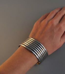 """VTG STERLING SILVER BRACELET - CONNECTED BANGLES - THICK CUFF - SMALL 6 7/8"""""""