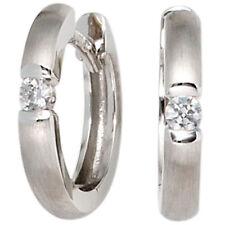 Aros Oro 585 Oro Blanco Mate 2 Diamantes Brillantes Pendientes Weißgoldcreolen