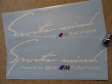 "2 x Sports Mind BMW M Performance Side Bonnet Decals Stickers 12"" 300mm Sport WT"