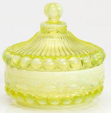 Candy Dish - Eyewinker  - Vaseline Opalescent Glass - Mosser USA