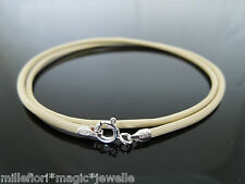 """2mm Cream Leather & Sterling Silver Necklace Or Wristband 16"""" 18"""" 20"""" 22"""" 24"""""""