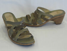 DANSKO Taupe & Brown Leather Strappy Mule Slides & Chunky Heels 10M  - GR8!!