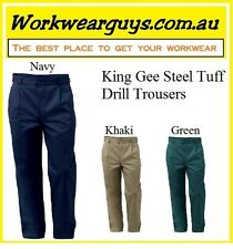 King Gee Steel Tuff Drill Trousers-Workwear (Navy, Khaki, Green)- Range of Sizes