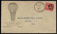"1898 2¢ W/ FANCY CNL ON ""C.O. JELLIFF & Co."" ADVERTISING COVER BQ2578"