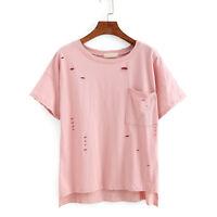 Women Loose Short Sleeve T Shirt Hole Casual Blouse Summer Tank Vest Top T-Shirt