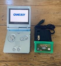 Nintendo Game Boy Advance SP AGS-101 Model w/ Pokémon Leaf Green & Wall Charger!