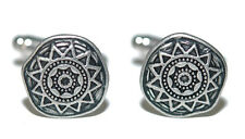 AZTEC SOUTHWESTERN INSPIRED SILVER TONE CUFF LINKS (047a)