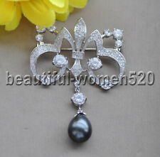 Z9804 Black Drop Shell Pearl White Gold-Plating CZ Catwoman Brooch