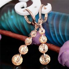 Solid 9ct Gold Filled Champagne Morganite Drop Earrings Gift 40 mm Summer