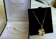 PENDANT SPARKLY SOLID 9CT GOLD CHAIN / LUCKY FOUR LEAF SPARKLY CLOVER -STUNNING