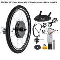 "26"" Front Wheel Kit Conversion 48v 1000w Motor Hub Electric Bicycle E Bike MTB"
