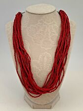 Handcrafted Moroccan Berber Necklace Red Hand Beaded Necklace.