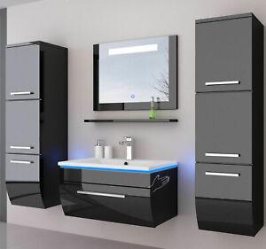 Badmöbel Set Schwarz Komplett Hochglanz Badezimmermöbel 6Teilige LED Schwarz 70