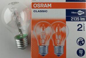 2 x 116 Watt Osram ES / E27 116W = 150W halogen clear Halogen bulb lamp dimmable