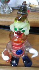 Vintage Murano Venetian Glass Clown with label Italy J.I. co Holding Bottle