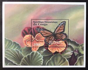 CONGO FLOWERS & BUTTERFLIES STAMPS S/S 2001 MNH MONARCH BUTTERFLY FLORA FAUNA