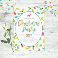 CHRISTMAS INVITATION PERSONALISED PARTY SUPPLIES CHRISTMAS LIGHTS INVITE XMAS