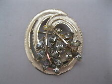 VINTAGE BSK  BROOCH~SILVER TONE METAL~GRAY GLASS ACCENTS