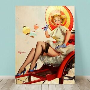 """VINTAGE Pin-up Girl CANVAS PRINT Gil Elvgren  36x24"""" Carriage China"""