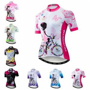 Pink Bike Jersey Women's Cycling Cycle Shirt Jacket Tops Quick Dry Clothing Wear