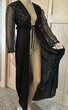 Vintage Nylon & Chiffon Sweeping Peignoir Robe Lacy Sexy Gown SM