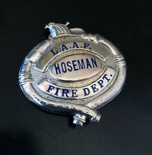 Gorgeous Vintage Libby Army Airfield Fire Dept Hoseman Badge Hallmarked LA Stamp