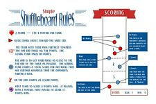 SIMPLE TABLE SHUFFLEBOARD SCORING RULES LAMINATED-PERFECT VISUAL FOR SCORING