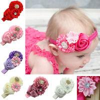 Cn _ Ne _ Enfants Bébé Filles Bandeau Strass Ruban Fleur Rose de Cheveux Headw