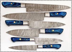 Eye Catching Custom Made Damascus Steel Professional Kitchen Knife set-DB-071-BU