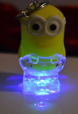 2 Minions Rainbow LED Light up Key chain Switch on Back