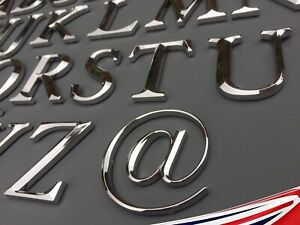 Small Chrome Letters, Self adhesive. Art, Door, Signs. Height 2.5cm A-Z & @ 3D