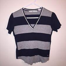 Vintage TOMMY HILFIGER 90s Women's Medium Sport Mesh Striped Crop Top Shirt EUC