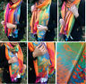 Orange Feather Floral Peacock Scarf Bright Rainbow Multi Colour Pashmina Shawl
