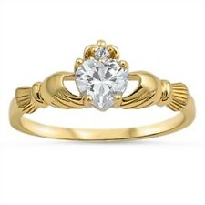 Gold Plated Clear Cz Height 9 mm Claddagh Toe Ring Sterling Silver 925 Yellow