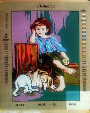 "Needlepoint tapestry canvas.Boy with dog 40x50 (16""x20"") Gobelin L 40.101"