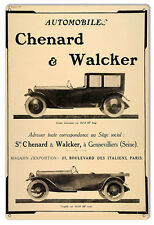 "Chenard And Walcker Automobile Sign 12""x18"""