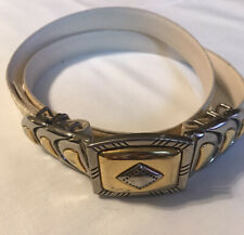 Womens Size Med Large M /  L Adjustable Snakeskin Belt Two Tone Metal Clasp