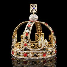 Baroque Colorful crystal Queen King Crown Wedding Bridal Headband Tiara Jewelry