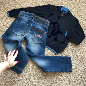 $960 4-5 Years Authentic Billionaire Boy Set Sweater Jeans Pants Pullover Cashme