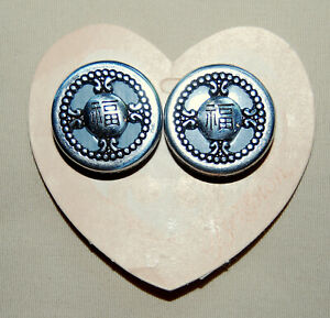 NWT, Vintage, silver BRIGHTON Chinoise PROSPERITY Chinese Clip-On earrings !!