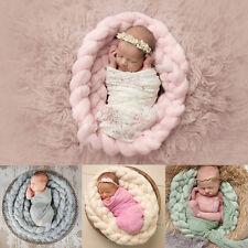 Handmade Newborn Baby Photography Photo Props Backdrop Wool Knitting Blanket Rug