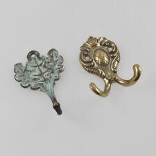 2 Old Coat Hook Brass - oak Leaves - oak Leaf - Verdigris - Wardrobe