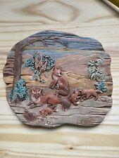 80's Ceramic Fox Forest Wildlife Wall Art Handpainted Macky Molds