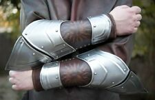Medieval Fantasy pair of bracers from metal and leather with skull pattern